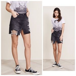 Relaxed & Destroyed Black Denim Skirt Free People